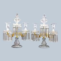 A Tall Pair of Antique High Quality Cut Crystal BACCARAT Two Branch Candelabra