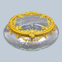 XL Large Antique French Baccarat Crystal and Dore Bronze Casket Box.