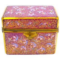 Super Large Antique MOSER Cranberry Casket Enamelled with Colourful Scroll Work Throughout