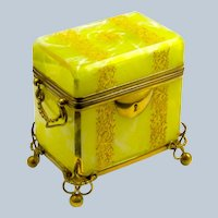 Antique Bohemian MOSER Yellow Opaline Glass Casket Box with Gilded Leaf Design