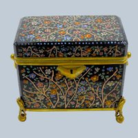 Large Antique MOSER Glass Casket Box with Beautiful Polychrome Enamelled Flowers  and Leaves.