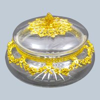 Antique French Cut Crystal and Dore Bronze Jewellery Casket and Lid.