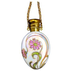 Art Nouveau French Iridescent Porcelain Perfume Chatelaine and Finger Ring.