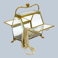 Antique French Crystal and Dore Bronze Jewellery Box