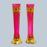Pair of Antique Moser Cranberry Glass Vases