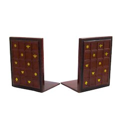 Pair of Vintage Leather Book Ends with Gold Stamped Design