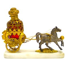 Antique Palais Royal Dore Bronze Carriage Perfume Set
