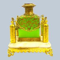 A Large Palais Royal Green Opaline Glass Perfume Bottle Set