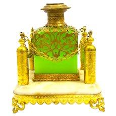 A Large Palais Royal Green Opaline Glass Perfume Bottle Set