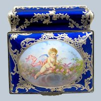 Exquisite Antique French Bresse-Blue Enamel Bombe Shaped Casket with Cherub.