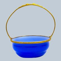 Antique French Sevres Blue Opaline Glass Basket with Fine Dore Bronze Mounts and Handle.
