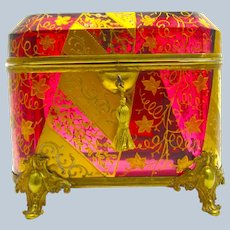 Very Large Stunning Antique MOSER Cranberry Casket Decorated with Gold Enamelled Leaves and Flowers.