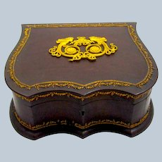 Large Antique Napoleon III Jewellery Casket in Wood with Gilt Bronze Mounts.
