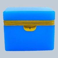 Large Antique Rectangular Blue Opaline Glass Casket Box with Fancy Dore Bronze Mounts.