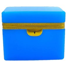 Large Antique Rectangular Blue Opaline Glass Casket Box with Fancy Dore Bronze Mounts.