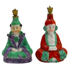 Pair of Antique German Sitzendorf Crown Top Perfume Bottles in the Form of Two China men.