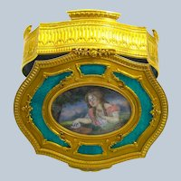 High Quality French Turquoise Guilloche Enamel and Gilded Bronze Jewellery Box