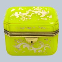 RARE Antique Yellow Opaline Glass Enamelled Casket Box with Dore Bronze Mounts.