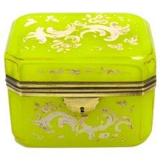RARE Antique Yellow Opaline Glass Enamelled Casket Box with Dore Bronze Mounts.