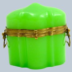 Antique French Green Opaline Glass Casket with Unusual Dome Lid.