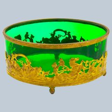 Antique Napoleon III Oval Dore Bronze and Crystal Jardiniere