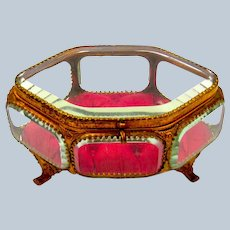 Antique French Lozenge Shaped Bevelled Crystal Glass and Dore Bronze Jewellery Casket