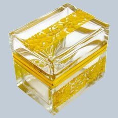 Antique French Crystal Glass Casket with Fine bands of Gold Enamelled Flowers.