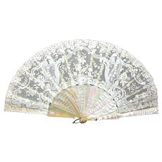 Antique Hand Made Lace Fan with Mother of Pearl Guard Sticks.