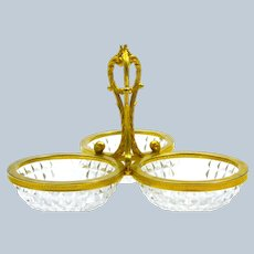 Antique French Cut Crystal and Dore Bronze Centrepiece