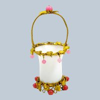 Antique Palais Royal White Opaline Glass Basket with Pink Opaline Baubles