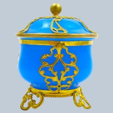 Antique French Blue Opaline Glass Box and Cover with Intricate Dore Bronze Mounts.