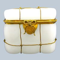 Antique French White Opaline Glass Casket with Fine Dore Bronze Bow Lock.