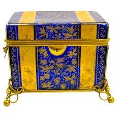 Stunning Extra Large Antique MOSER Cobalt Blue Enamelled Glass Casket Box