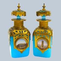 A Pair of Antique Palais Royal Blue Opaline Glass Perfume Bottles.