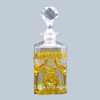 Large Antique Napoleon III Cut Crystal Perfume Bottle