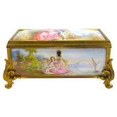 Stunning High Quality Antique French Enamelled Casket.