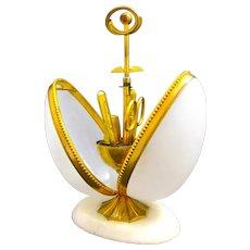 Antique Palais Royal White Opaline Glass Egg Sewing Etui Casket Box.