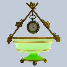 Antique Palais Royal Green Opaline Glass Watch Holder with Fine Dore Bronze Mounts.