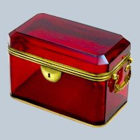 Large Antique French Ruby Red Glass Casket with Dore Bronze Mounts.