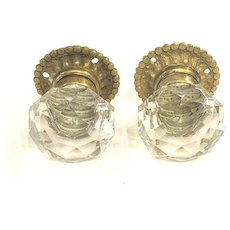 Pair French 19th Century Cut Crystal Door Knobs