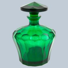 Antique French Emerald Green Crystal Glass Bottle and Stopper