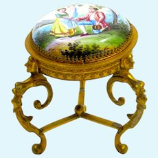 Antique Viennese Dore Bronze and Enamel Miniature Piano Stool