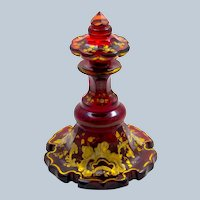 Antique Bohemian Deep Ruby Red Glass Gold Enamelled Perfume Bottle.