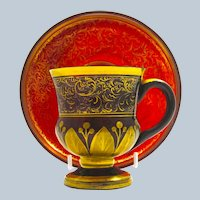 Antique Bohemian Deep Ruby Red Glass and Gold Enamel Cup and Saucer