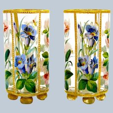 Pair of Exceptional Antique MOSER Vases with Hand Enamelled Spring Flowers