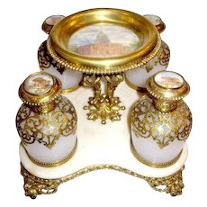 STUNNING Palais Royal Opaline Perfume set circa 1860