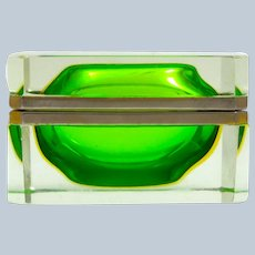 Vintage Murano Sommerso Green Glass Casket and Dore Bronze Mounts.
