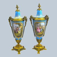 A Stunning Pair of Antique French Napoleon III Porcelain and Dore Bronze Vases and Lids.
