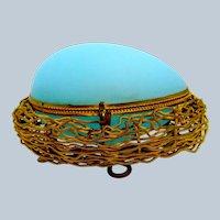 Antique Palais Royal Blue Opaline Glass Egg Shaped Casket