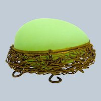 Antique Palais Royal Green Opaline Glass Egg Shaped Casket Box